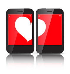 heart on two cell phones displays vector image vector image