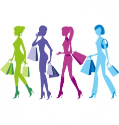 shopping girls vector image vector image