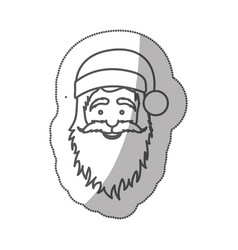 sticker silhouette half body cartoon santa claus vector image vector image