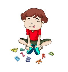 alphabets and boy vector image vector image