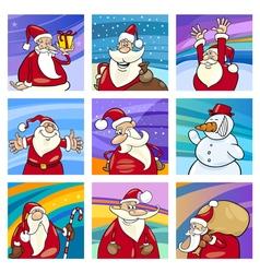Christmas Santa cards set vector image vector image