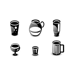 Glossy drinks and beverages icon set vector image