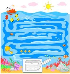 Kids sea maze game vector image