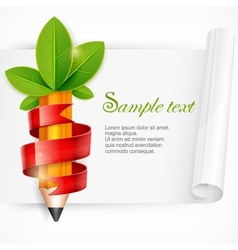 Pencil with leaves and ribbon vector image vector image
