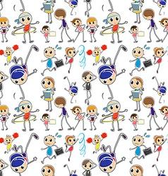 Seamless kids doing different activities vector image vector image