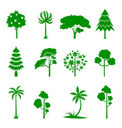 set of green tree icons vector image