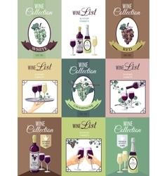 Set Of Wine Menu Poster vector image vector image