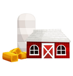 silo and red barn vector image