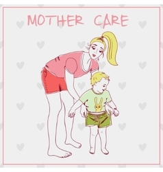 Beautiful mother with her child vector image vector image