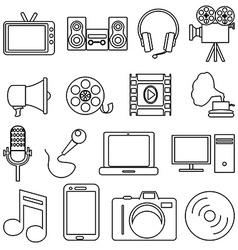 Entertainment line icons set vector image vector image