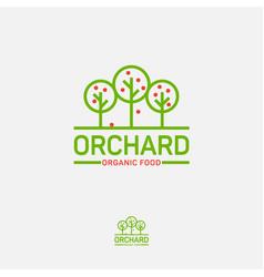 logo orchard organic icon food fruit trees vector image