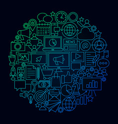 marketing line icon circle concept vector image