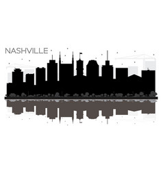nashville tennessee usa city skyline black and vector image