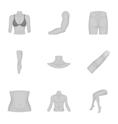 Part of body set icons in monochrome style Big vector image vector image
