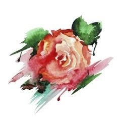 Rose hand-drawn watercolor vector image