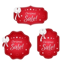 Set of three festive Christmas coupon labels red vector image