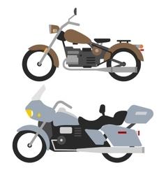 two retro motorbikes isolated on white vintage vector image