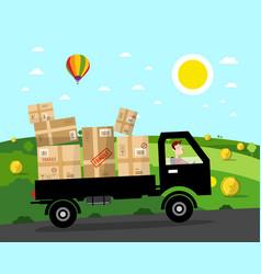 Van with parcels on rural road landscape natural vector