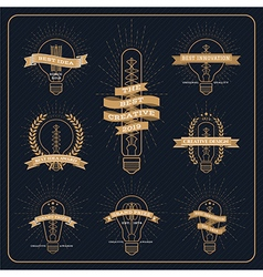 Vintage bulb creative and idea award label with vector