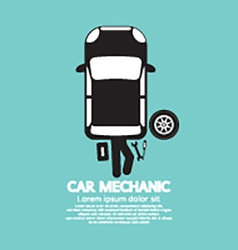 Car Mechanic Repairing Under Automobile vector image