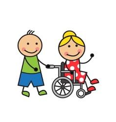 Cartoon woman on a wheelchair vector image
