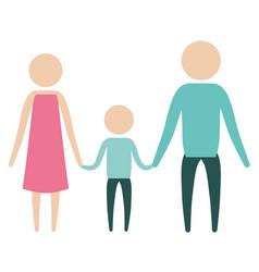 Color silhouette pictogram parents with a boy vector