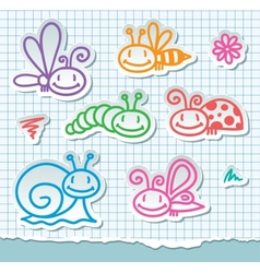 hand drawn insects vector image vector image