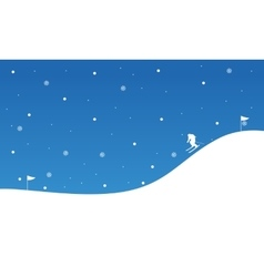 Landscape of people skiing downhill Christmas vector image