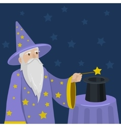 Magician with a magic wand and cylinder vector