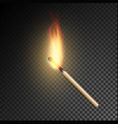 realistic burning match burning match on vector image