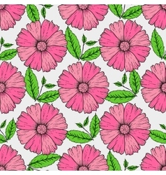 set of hand drawn colorful flowers and leaf vector image vector image