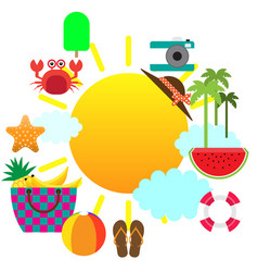 summer concept flat icons with place for text vector image vector image