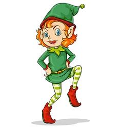A playful Santa elf vector