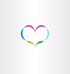 abstract nature heart plant icon logo vector image