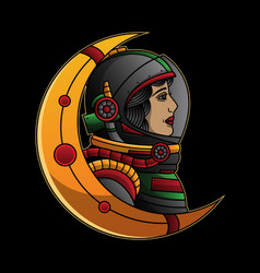 astronaut traditional tattoo vector image