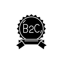 b2c black icon sign on isolated background vector image