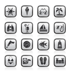 Beaches and summer icons vector image