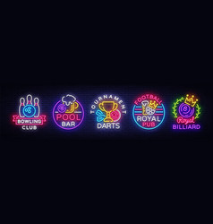 Big collection neon signs for bowling darts vector