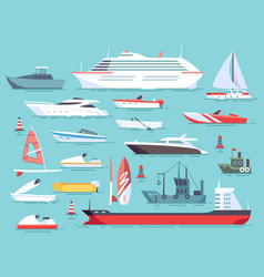 Big set of sea boats and little fishing ships vector
