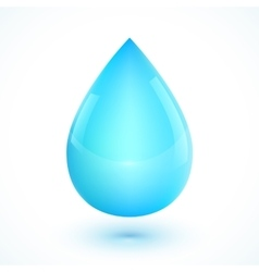 Blue realistic water drop isolated on white vector