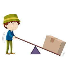 Boy lifting box with tool vector