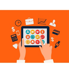 Business concept Hands touching a tablet with flat vector image