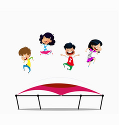 Cartoon children jumping on trampoline vector