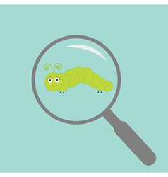 Caterpillar insect under magnifier zoom lense flat vector