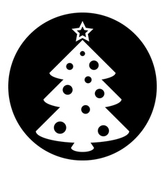 Christmas tree symbol button vector