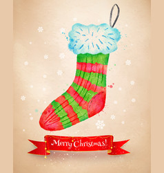 Christmas with sock and red ribbon banner vector