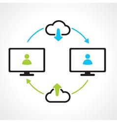 Cloud download compuert icons vector