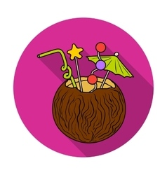 Coconut cocktail icon in flat style isolated on vector