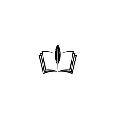 Creative black book feather logo vector