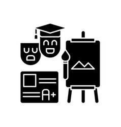 Creative certification exam black glyph icon vector